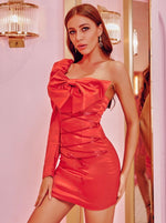 Red Satin Bow Dress