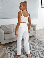 Crop Cami & Pants Set (White)