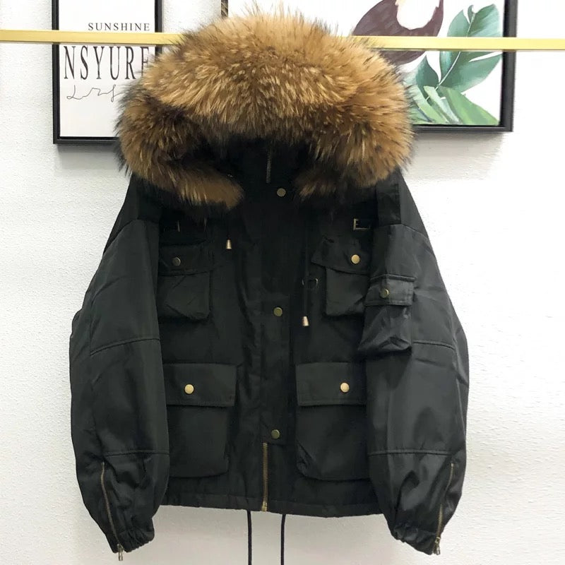Daisy Bomber Coat Black