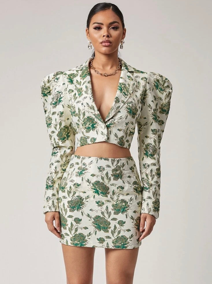 Jacquard Crop Blazer (Skirt Sold Separately)