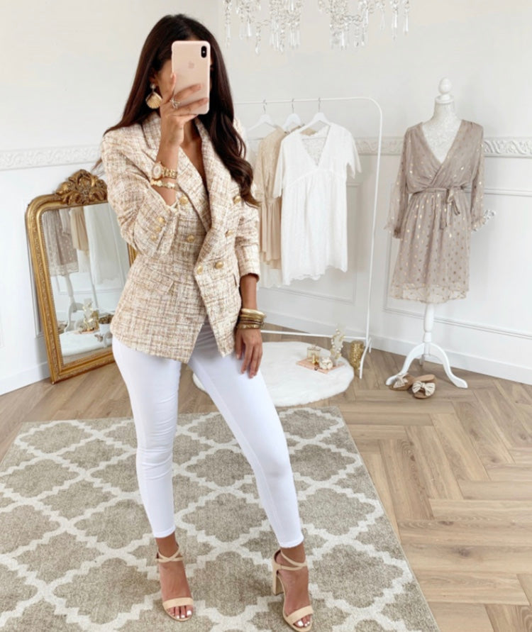 BOUCLE TWEED DOUBLE BREASTED BLAZER Beige