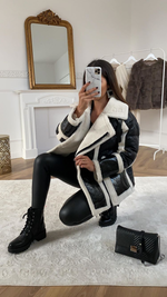 FOIL FUR TRIM JACKET Black
