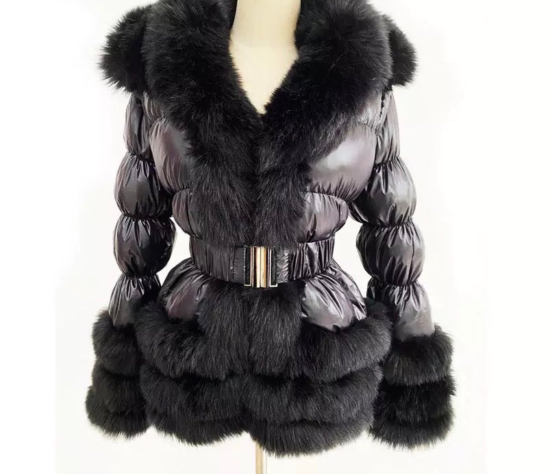 Detachable Faux Fur Coat Black