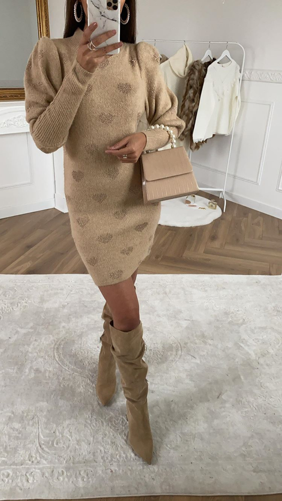 Camel Heart Print Jumper Dress