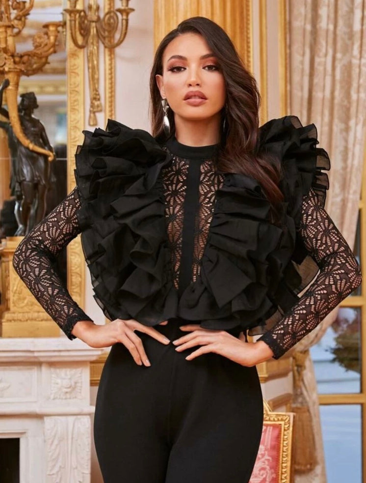 Exaggerated Ruffle Trim Lace Bodysuit Jumpsuit