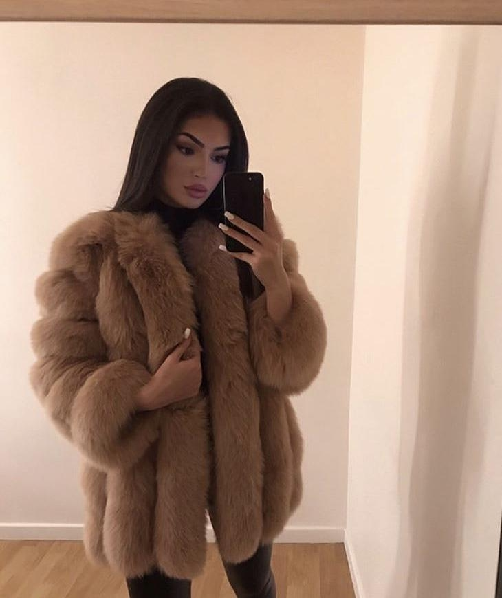 Deniz Faux Fur Dark Camel