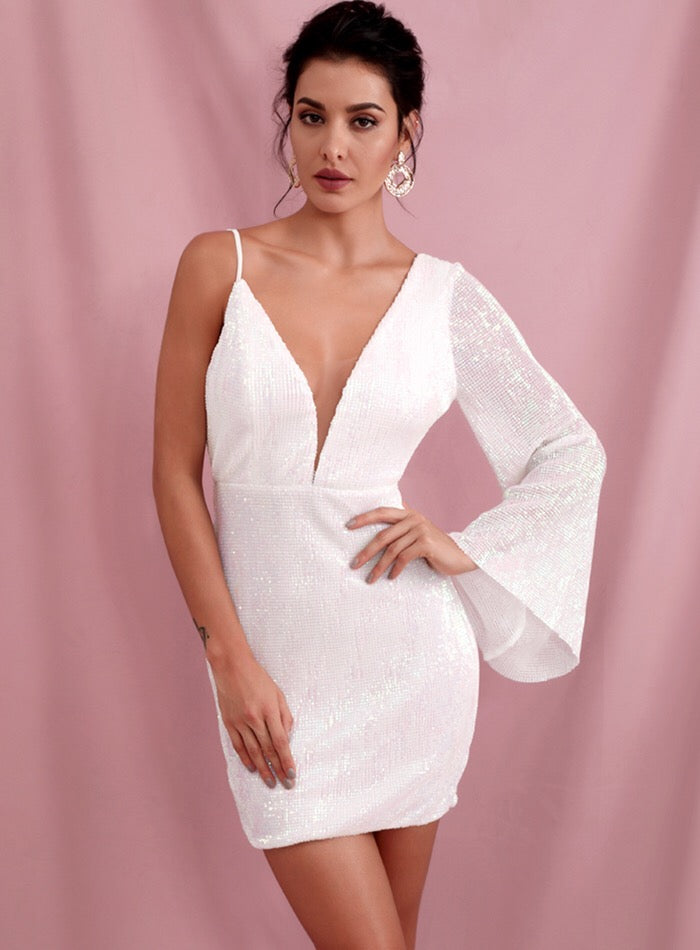 White Deep V-neck Strapless Sequin Mini Dress