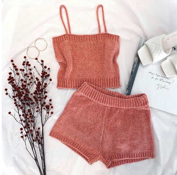 Solid Knit Cami Set
