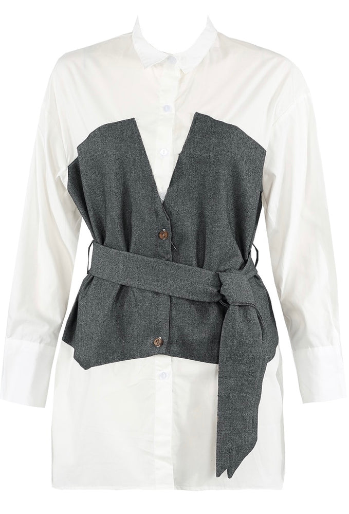 Poppy Belt Shirt Grey