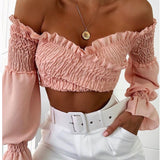 Crossover Long Sleeved Crop Top Pink