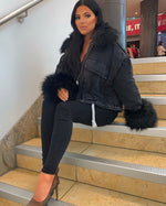 OVERSIZE FUR LINED DENIM JACKETS IN BLACK