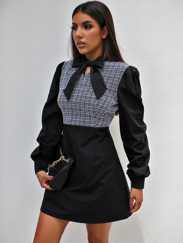 Tweed Contrast Dress
