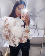 LACE MESH KNOT COLLAR BLOUSE
