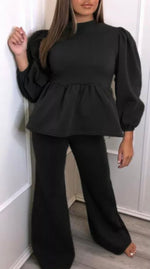 Frill Puff Sleeve Two Piece Loungewear (More colours)