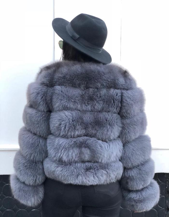 Ella Faux Fur Coat Grey/Blue