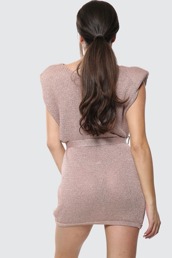 Shimmer Rose Gold Shoulder Padded Dress