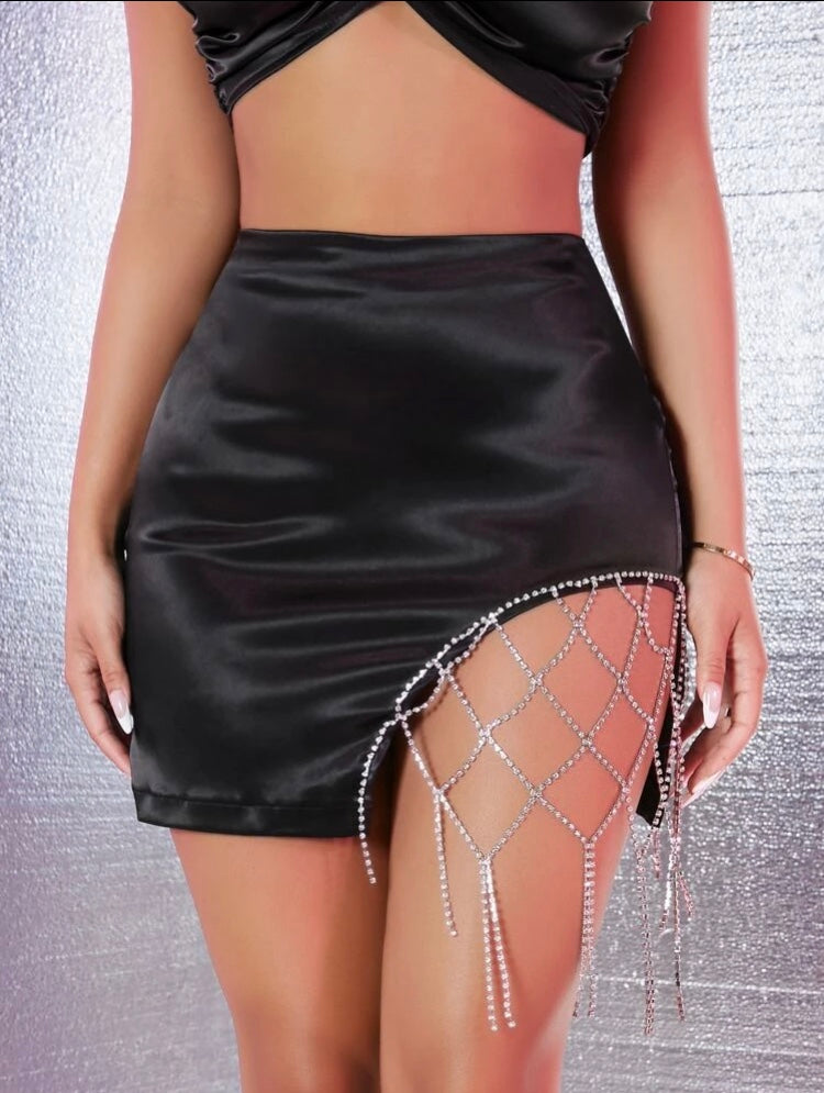 Rhinestone Detail Satin Skirt