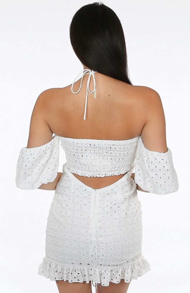 EMBROIDERY KEY HOLE TIE FRONT OFF SHOULDER DRESS