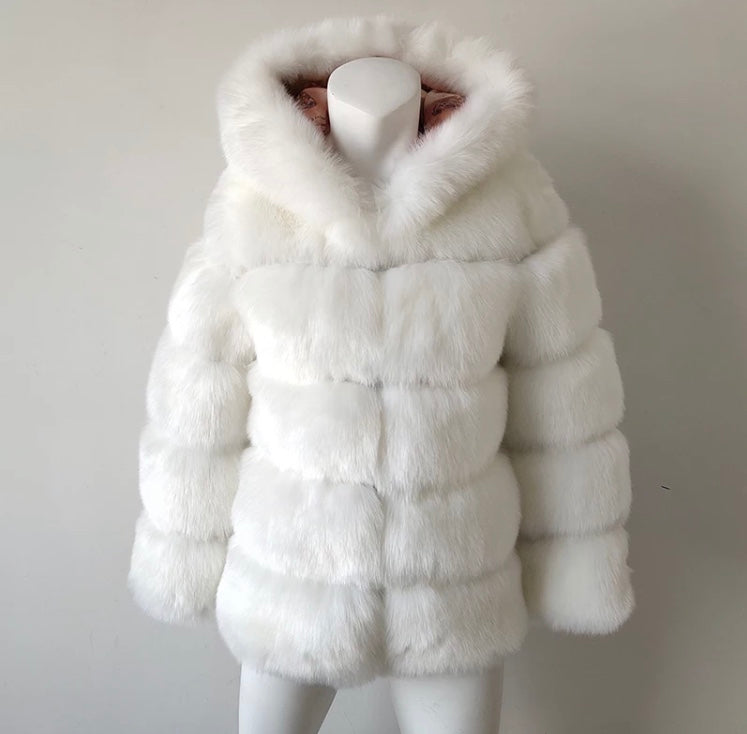 Thick Warm Faux Fur Coat White