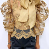 LACE MESH KNOT COLLAR BLOUSE Nude