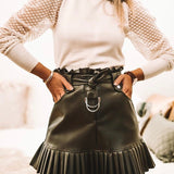 Faux Leather Frill Belted Skirt Black