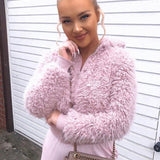 Pink Teddy Bear Fur Bomber Jacket