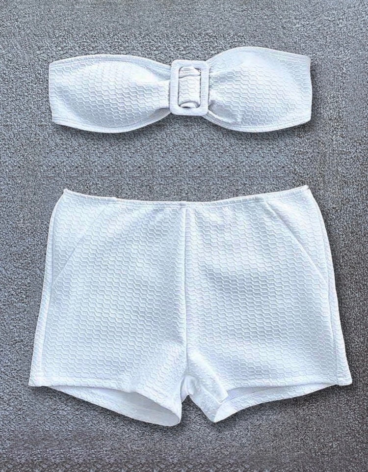 Textured Short Bikini Set