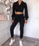 Twisted Front Crop Co-Ord Set (Black)