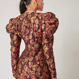 Premium Gigot Sleeve Floral Blazer Dress