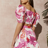 Jacquard Floral Puff Shoulder Set