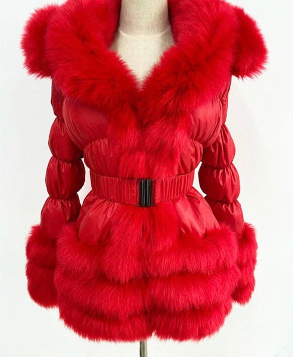 Detachable Faux Fur Coat Red