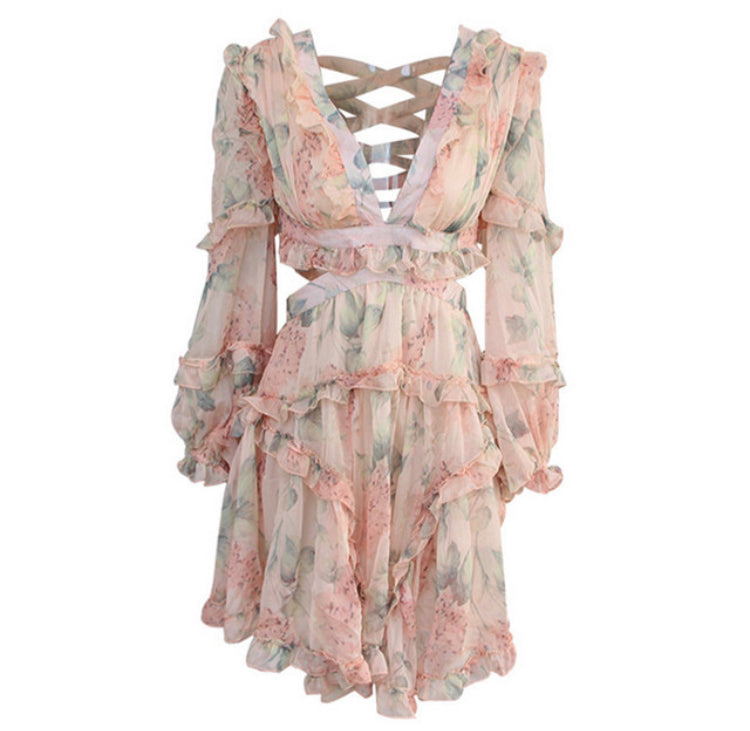 Luxe Floral Criss Cross Creamy Peach Colour Dress