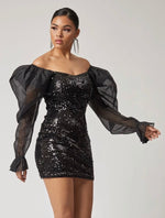 Off Shoulder Organza Gigot Sleeve Sequin Dress