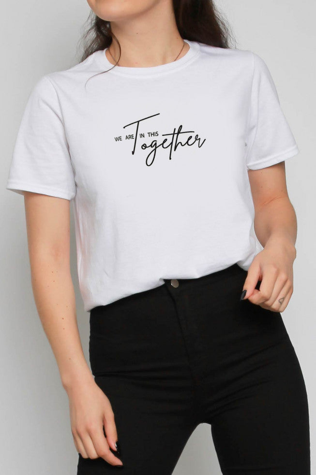 We Are In This Together Slogan Oversized T-shirt