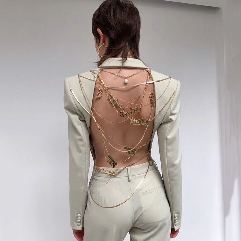 Gold Chain Backless Blazer (More Colours)