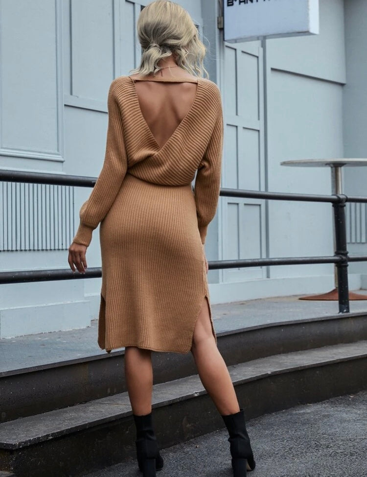Open Back Knitted Dress