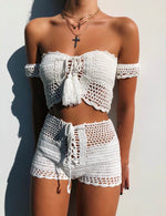 Crochet White Shorts Set
