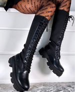 Lace Up Knitted Boots