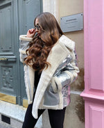 SILVER FOIL FUR TRIM JACKET