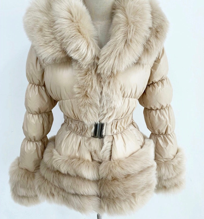 Detachable Faux Fur Coat Beige