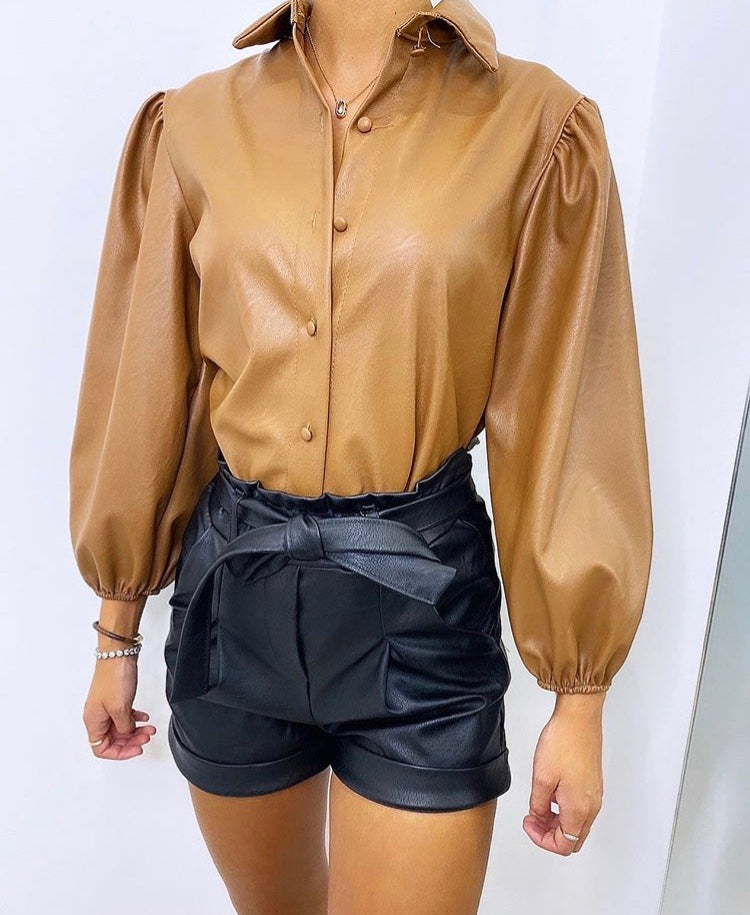 FAUX LEATHER BUTTON UP SHIRT
