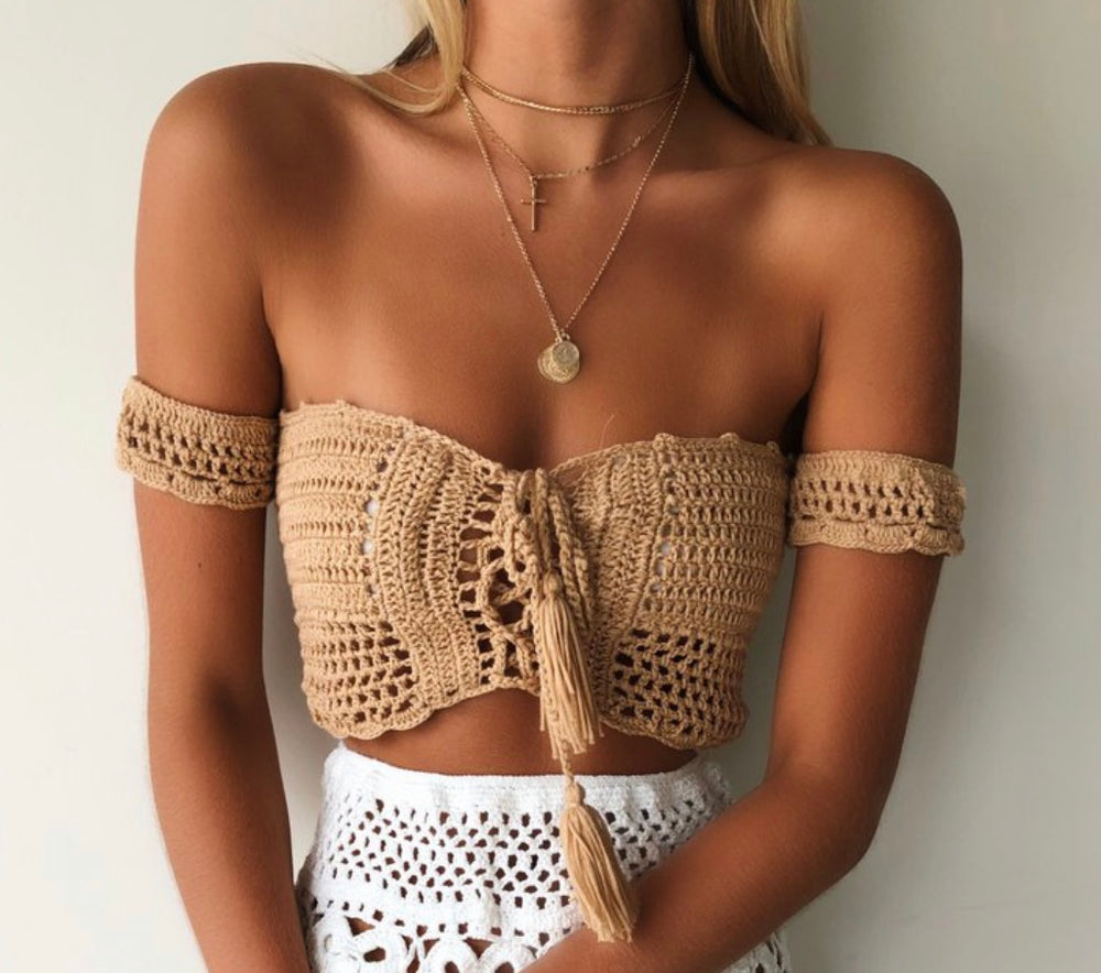 Crochet Khaki Top