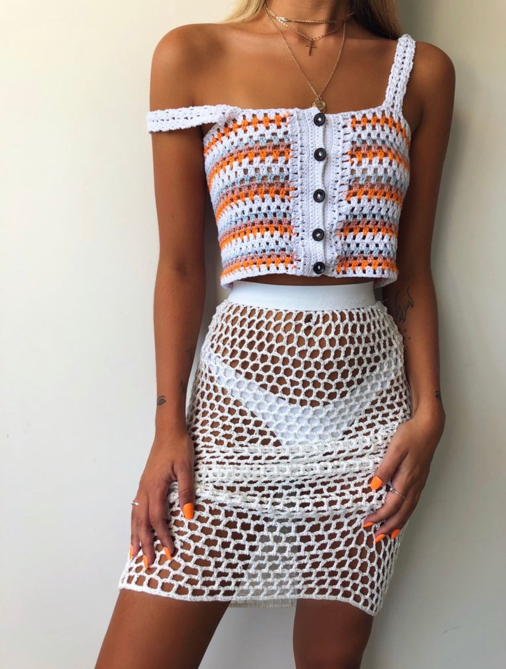 Crochet White Skirt