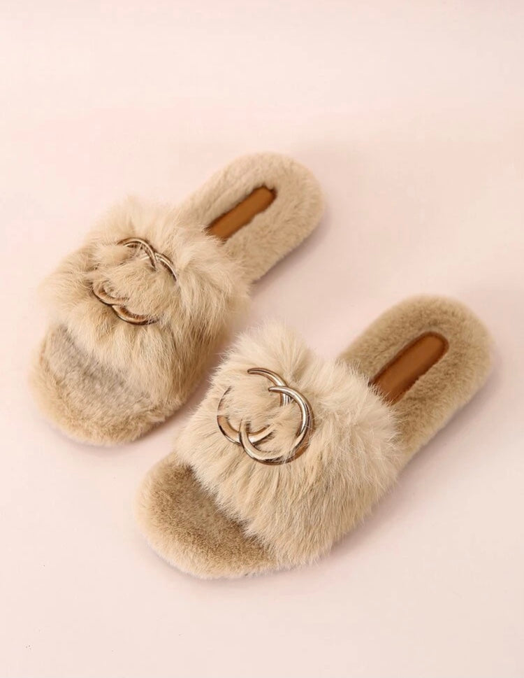 Metal Fluffy Slippers