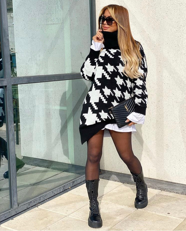 Houndstooth Oversized Roll Neck Jumper
