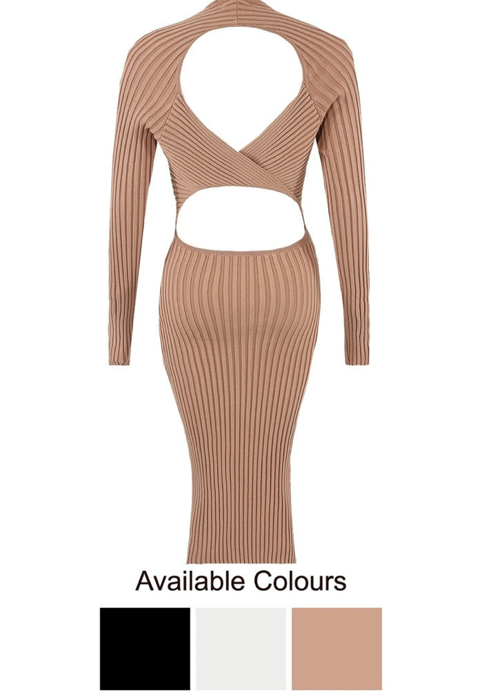 Fran Open Back Ribbed Dress (More Colours)