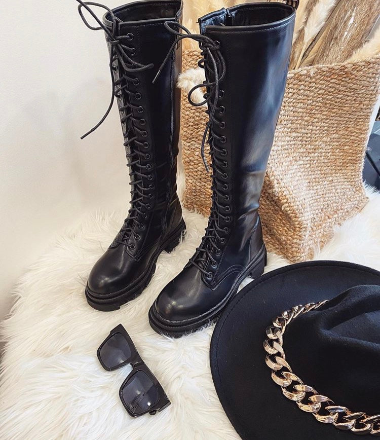 Lace Up Knee Boots