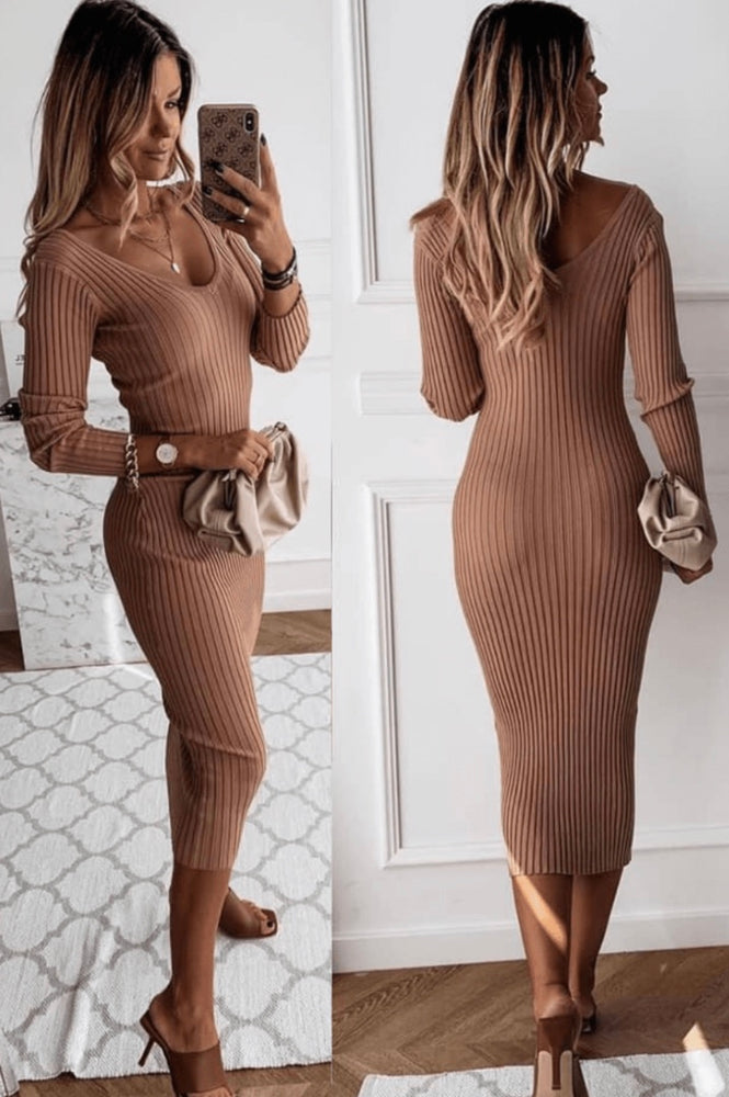 Camel V Neck Long Sleeve Knitted Midi Dress