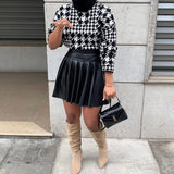 Knitted Houndstooth High Neck Jumper