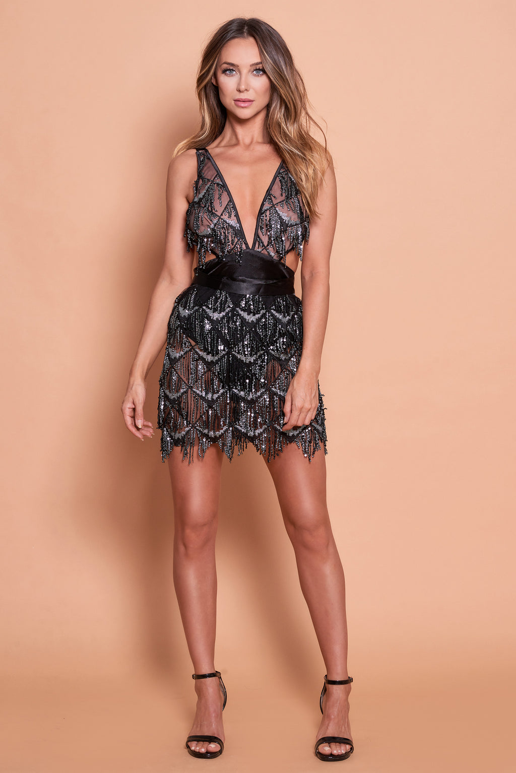 Zela Sequin Dress- Black